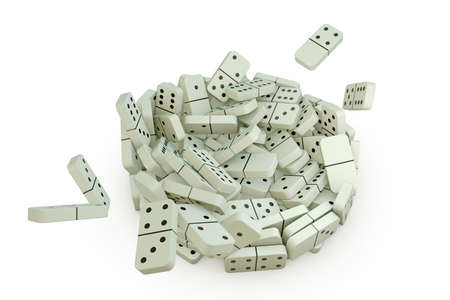 domino effect: 3d illustration of domino pieces that falling down on a white floor