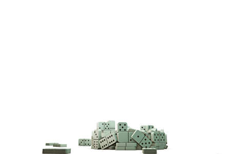 chain reaction: 3d illustration of domino pieces that falling down on a white floor