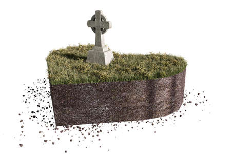 grave stone: 3d illustration of a celtic tomb on heart shaped piece of soil isolated on white background Stock Photo