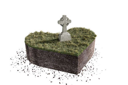spiritual growth: 3d illustration of a celtic tomb on heart shaped piece of soil isolated on white background Stock Photo