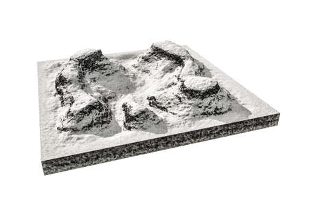 rocky mountain: 3d illustration of snow mountains plastic isolated on white background Stock Photo