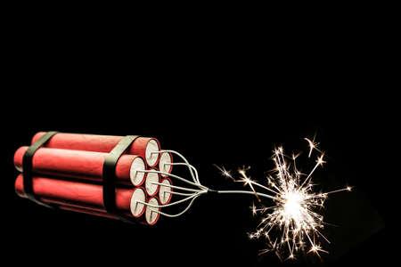 detonation: 3d illustration of dynamite sticks isolated on black background