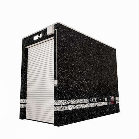 storage unit: 3d illustration of a selfstorage unit isolated on white background Stock Photo