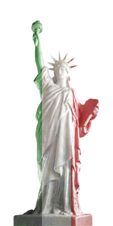 3d illustration of the statue of liberty covered by italian flag isolated on white background