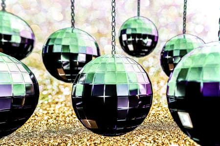few: 3d illustration of few reflective glitterballs