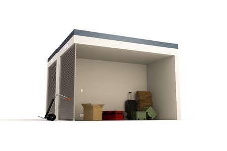 3D-afbeelding van een self storage sectie op een witte achtergrond