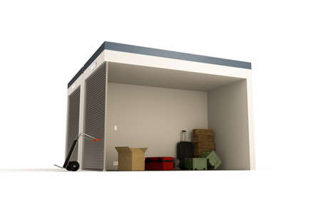 storage unit: 3d illustration of a self storage section isolated on white background Stock Photo