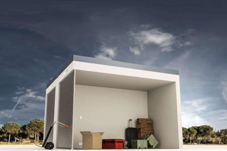 storage: 3d illustration of a self storage section