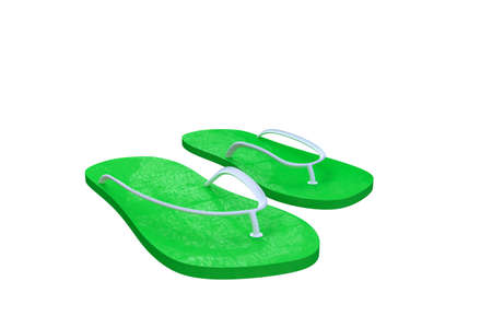 3d illustration of green flip flop isolated on white background Stock Photo