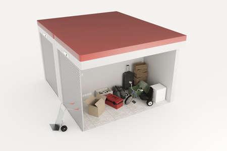 storage: 3d illustration of self storage units section isolated on white background