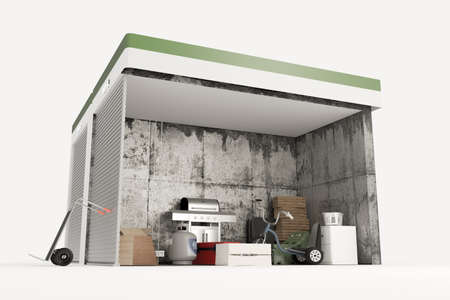 storage units: 3d illustration of self storage units sections isolated on white background