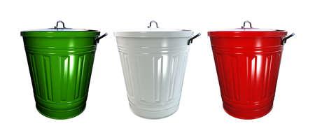 italian politics: 3d illustration of trash bin isolated on white background