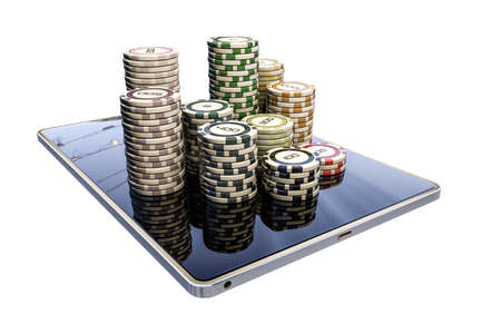 3d illustration of poker chips on a modern tablet isolated on white background