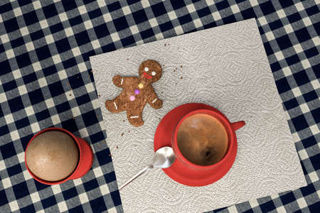 3d illustration of a kitchen table with egg, coffee ad a cute gingerbread man