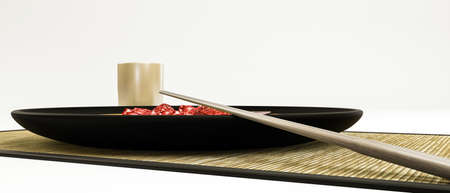 sushi  plate: 3d illustration of a sushi style plate isolated on white background