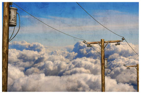 telephone pole: 3d illustration of telephone poles in the sky