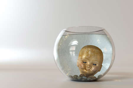 Doll head into a fishbowl isolated on white background