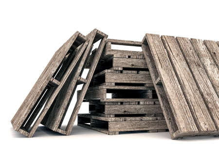 wood crate: 3d illustration of pallets isolated on white background