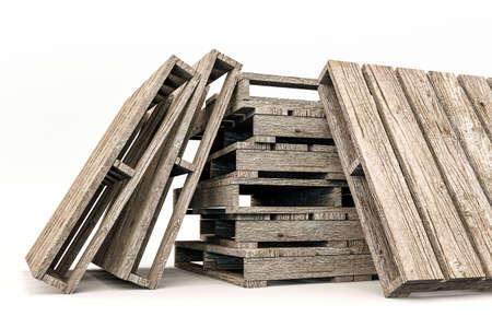 euro pallet: 3d illustration of EUR pallets isolated on white background