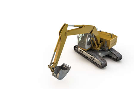 earth mover: 3d illustration of an excavator isolated on white background