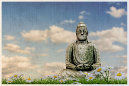3d illustration of a Budda statue on a beautiful meadow