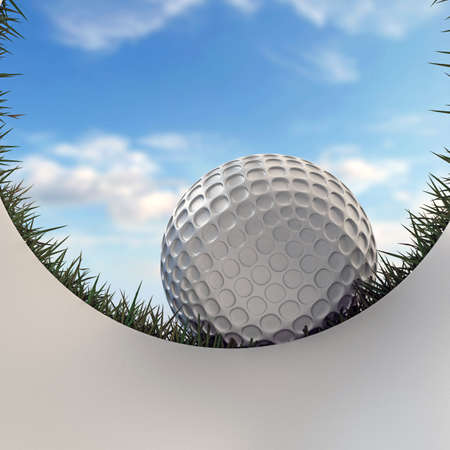 3d illustration of a golf ball approaching hole Stock Photo