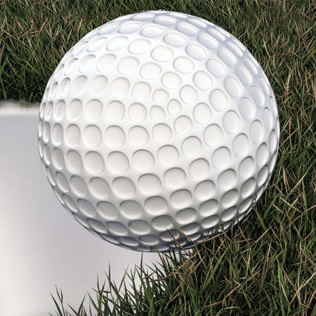 hole in one: 3d illustration of a golf ball approaching hole Stock Photo