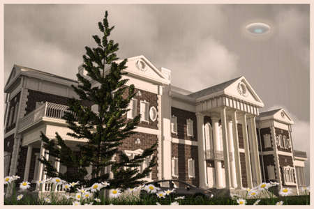 unidentified flying object: 3d illustration of an unidentified flying object over a country mansion