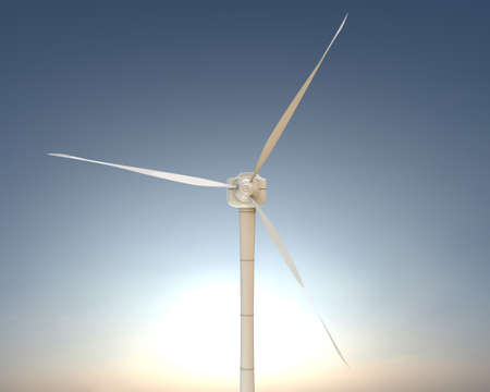 windfarm: 3d illustration of a modern wind turbine
