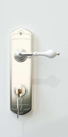 3d illustratie van een deur handvat met deur sleutel