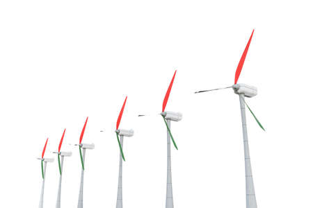3d illustration of power turbines isolated on white background