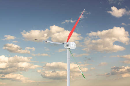 3d illustration of power turbine on sky background Stock Photo