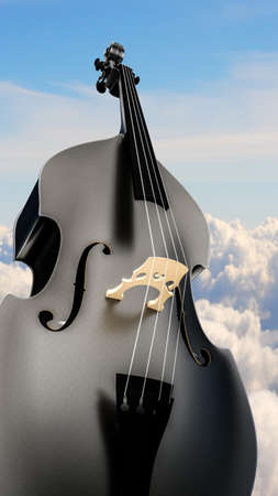 3d illustration of a contrabass with a sky background Stock Photo