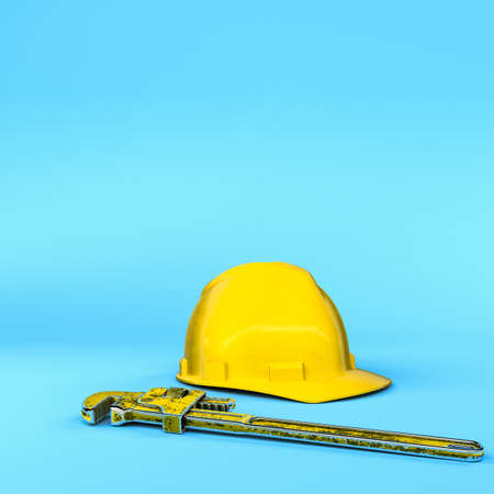 3d illustration of work tools isolated on blue background
