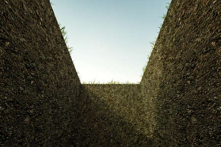 3d illustration of an empty grave hole