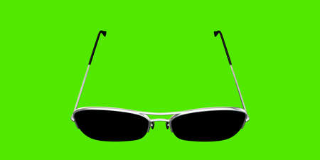 3d illustration of sunglasses isolated on green background