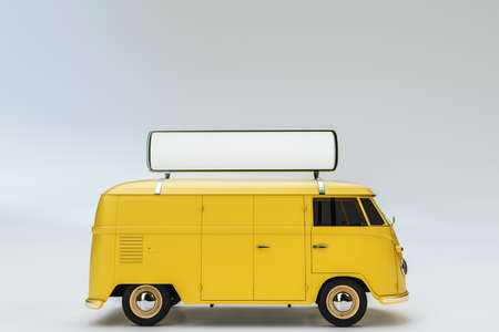 3d illustration of an old van isolated on white background Stock Photo