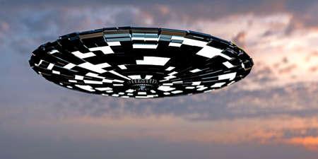 platillo volador: 3d illustration of an alien spaceship in the sky Foto de archivo