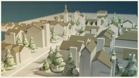 古い絵はがきの小都市の 3 d イラストレーション