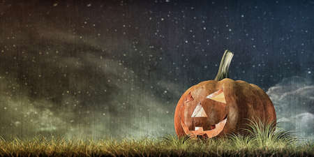 candle: 3d illustration of jack o lantern on green field