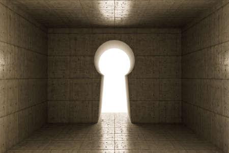 3d illustration of a concrete room with a keyshape gate