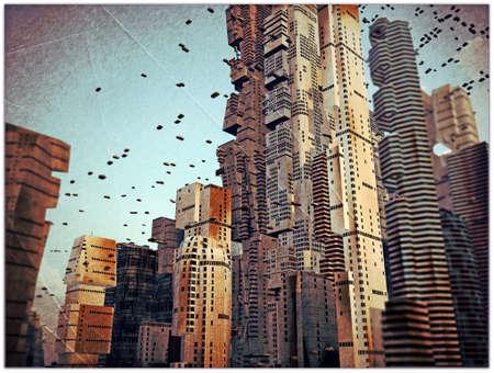グランジの古い写真の未来都市