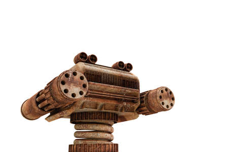3d illustration of a rusty robot sentinel isolated on white background