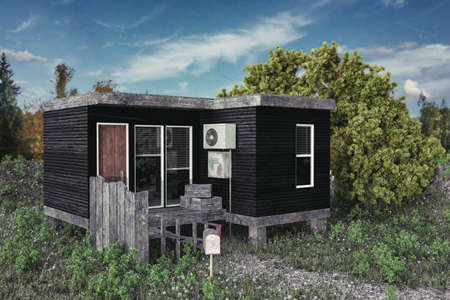 3d illustration of a modular house on a green field Stock Photo