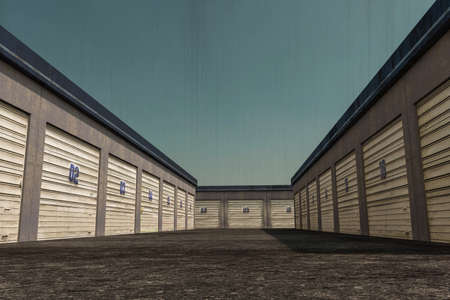 3d illustration of self storage units Archivio Fotografico