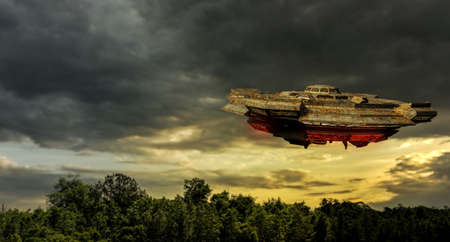 3d illustration of an huge unidentified flying object