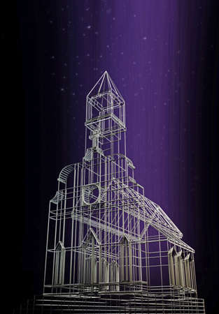 3d illustration of an old style Christian church  Stok Fotoğraf