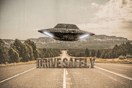 3d illustration of an ufo that flying over a desert road
