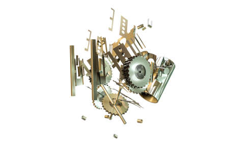 3d illustration of mechanical parts isolated on white background