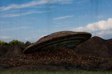3d illustration of a mountain ufo crash